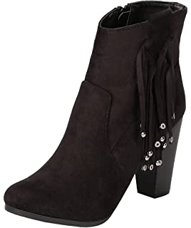 Women's Western Tassel Fringe Bead Chunky Stacked Heel Ankle Bootie