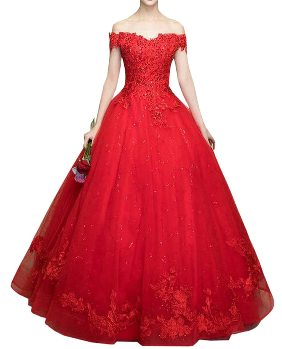 Smeiling Women's Off Shoulder Lace Appliques Ball Gown Chapel Wedding Dress Red L
