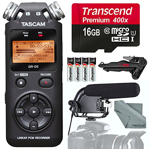 Tascam DR-05 Portable Handheld Digital Audio Recorder and Accessory Bundle with Shotgun Microphone + Tripod + 16GB + Batteries + More