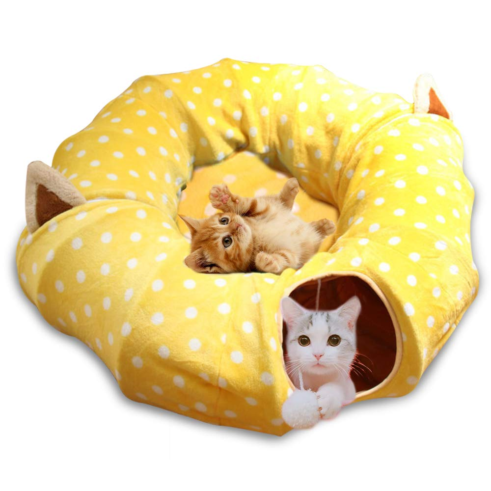 Metacrafter Cat Dog Tunnel Bed with Mat, Collapsible 3 Way Cat Tube Condo Play Toy with Peek Hole Fun Ball Indoor Outdoor Interactive Hideout Exercising House Toys for Pet Kittens Kitty Puppy 8FT by Metacrafter