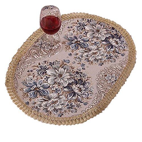 Aothpher Set of 4 Modern Elegant Oval Place Mats Blue Polyester Embroidered Washable Floral Pattern Placemats 12x18 Inch ...