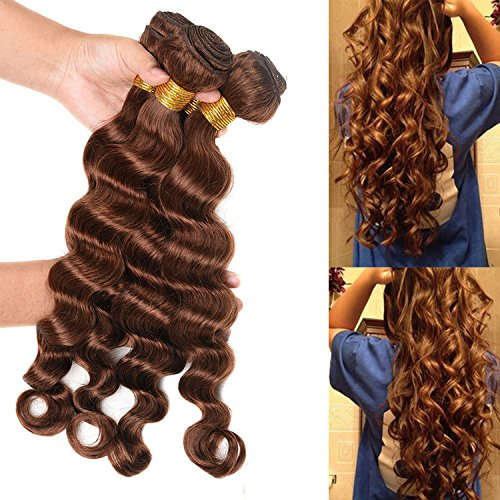 WOME 8A Grade Bazilian Virgin Deep Wave Human Hair Weaves 3 Bundles Light Auburn Loose Deep Hair Bundles(18