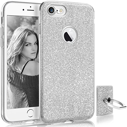 HoneyAKE Case for iPhone 8 Case Ultra Thin Cover Cute Girly Glitter Bling Sparkle Shell Luxury Shining Fashion Style 3 Layer Slim Fit Protective Soft Phone Case for iPhone 8 4.7 inches, Silver
