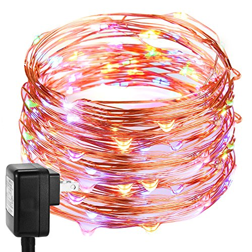 66 Feet 200 LEDs String Lights, DecorNova Starry Lights with 3V Power Adapter and Remote Control for Seasonal Decorative Holiday Wedding Parties Home Bedroom,4 Colors