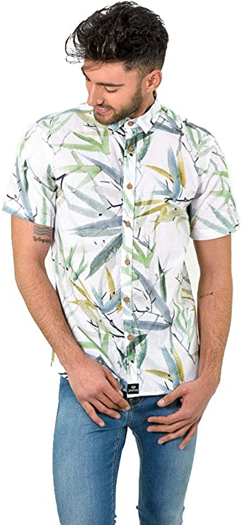 DIVARO - Camisa Estampado Hojas Manga Corta Color Blanco - para Hombre: Amazon.es: Ropa y accesorios