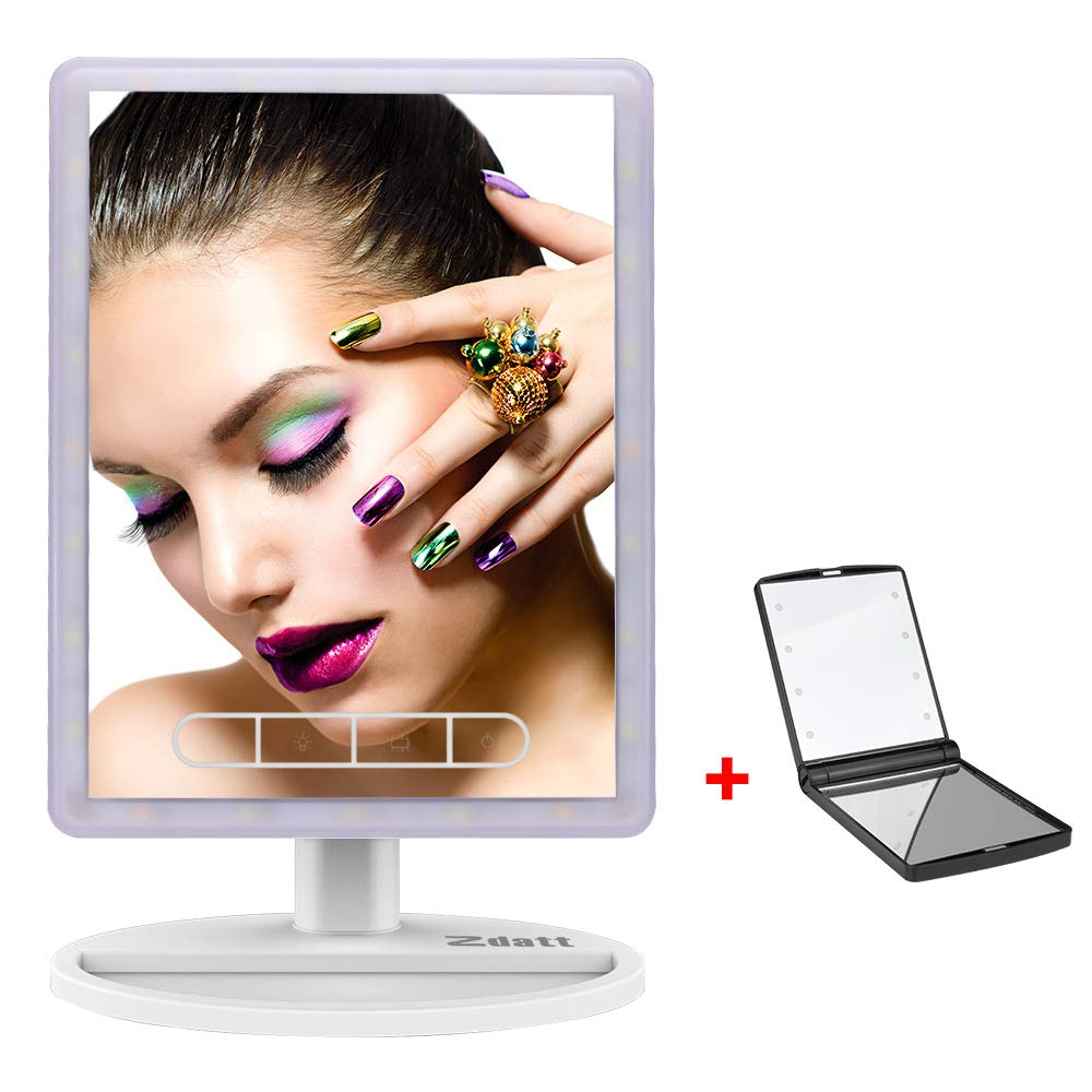 ZDATT LED Vanity Mirror Make up High Definition Clarity Cosmetic Mirror with 24Pcs Lights 720 Degree Free Rotation Table Countertop Cosmetic Bathroom, White