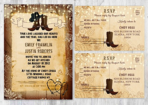 Western Rustic Wedding Boot Invitations With Matching Card Set of 100 by New York Invitations