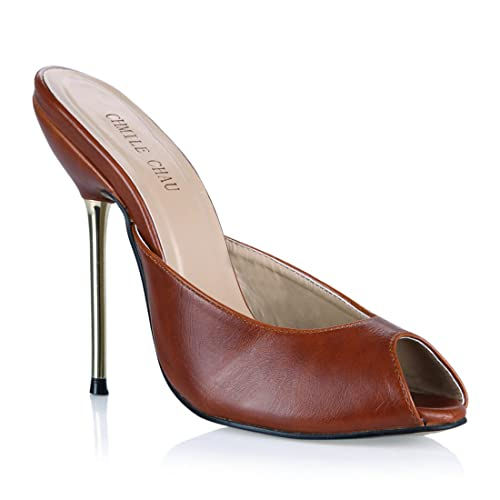 CHMILE Chau-Zapatos para Mujer-Sandalias de Tacon Alto de Aguja Metálico-Sexy