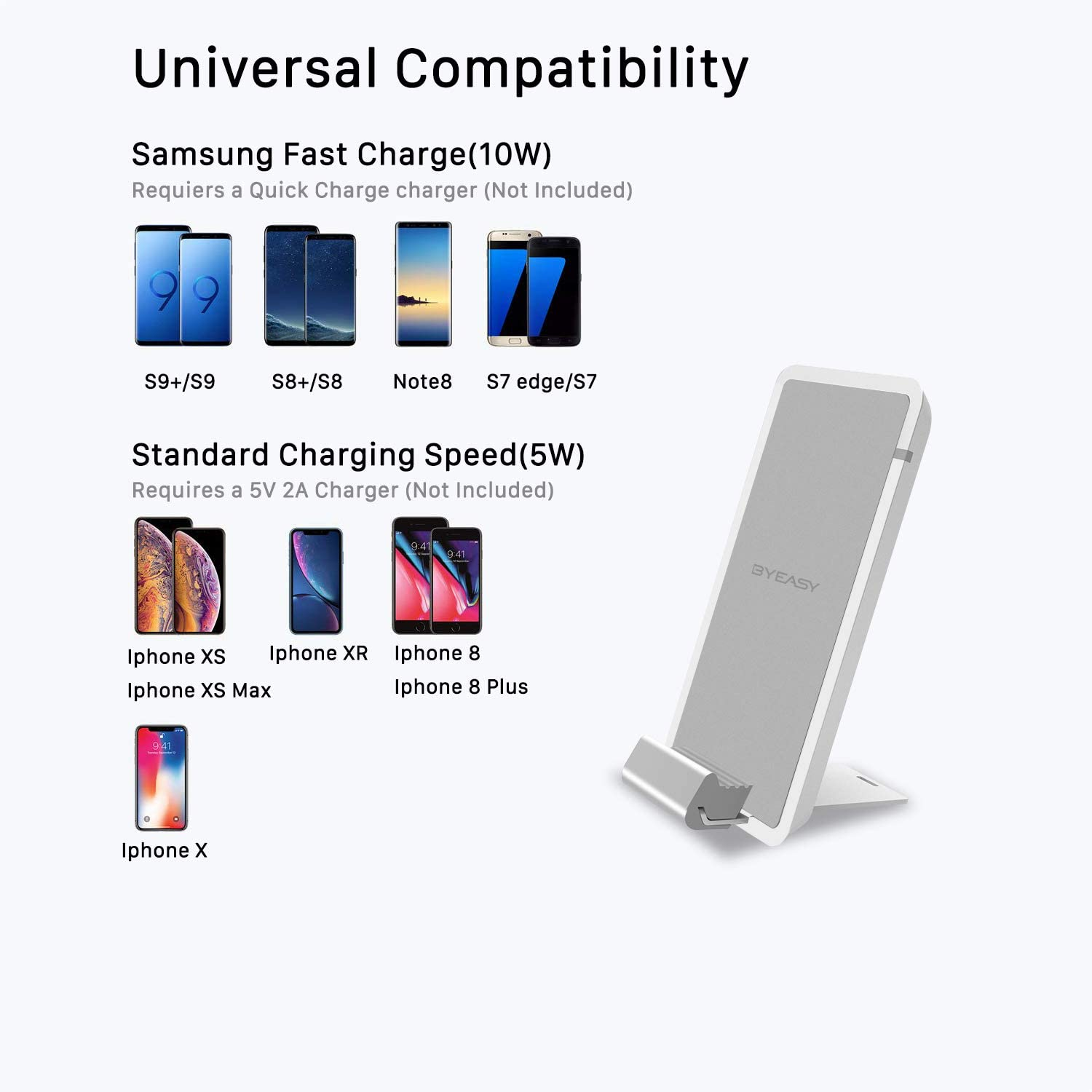 BYEASY Wireless Charger, 10W Wireless Charging Stand, Compatible iPhone XR/Xs Max/XS/X/8/8 Plus, Fast-Charging Galaxy S10/S9/S9+/S8/S8+/Note 9/Note 8, ...