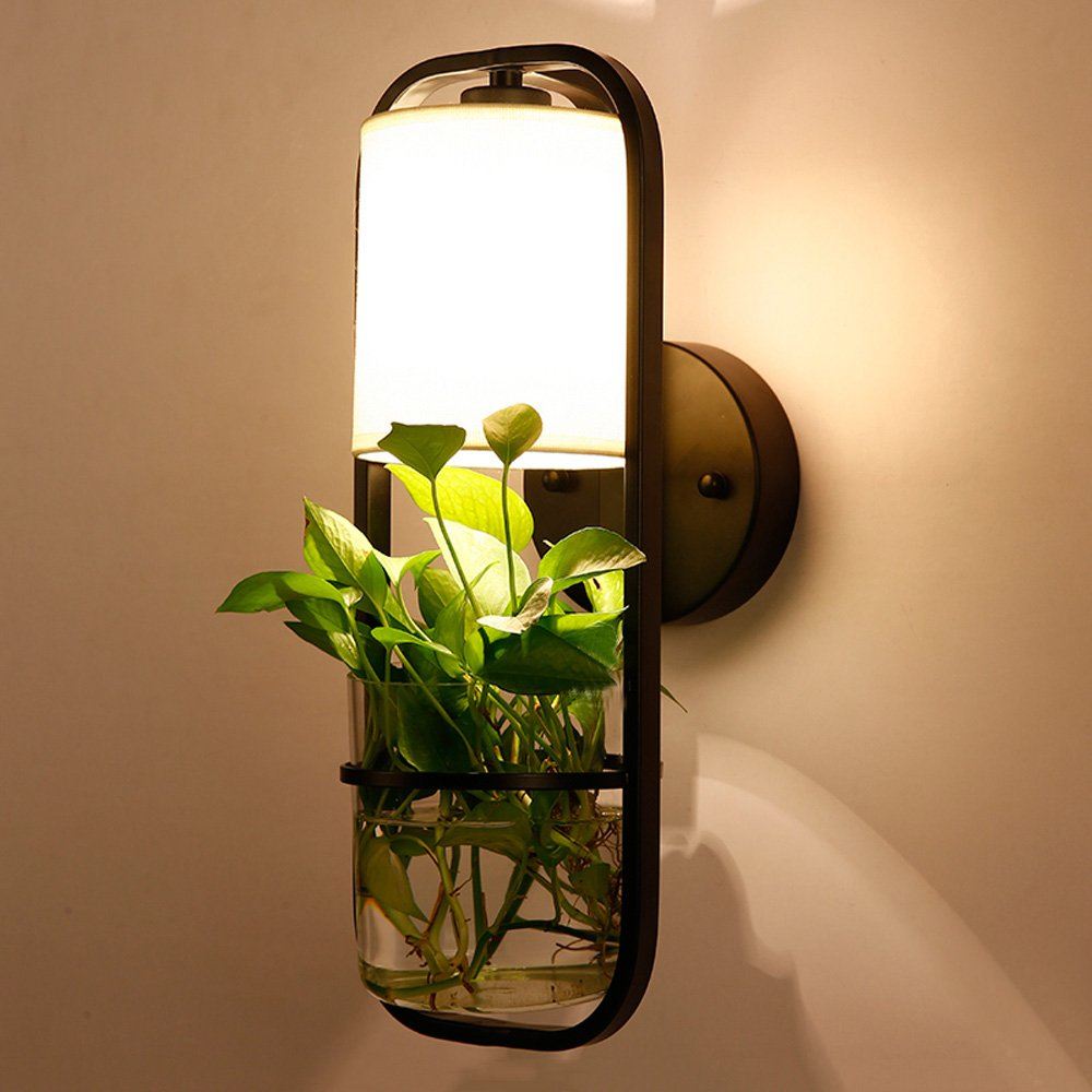 現代のledウォールランプファッションガラス壁取り付け用燭台錬鉄製のベッドサイド照明カフェレストランホテル収納装飾ランプ B07TKGVK2Q