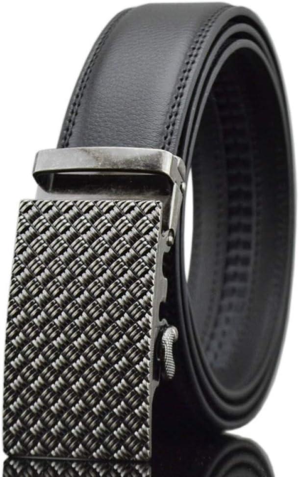 DENGDAI Mens Black Leather Belt Casual Belt Automatic Buckle Belt