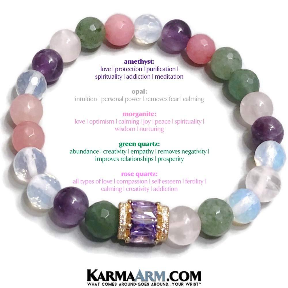 Meditation Jewelry Boho Stretch Bracelets Rose Quartz Opal CZ Diamond Pave Beaded Reiki Yoga Chakra Bracelet Morganite Romance: Green Quartz Amethyst KarmaArm Love Bracelet