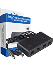 Gamecube zu Switch Wii PC Controller Adapter,TechKen 3-in-1 GC zu Wii U/Switch/PC Konverter 4 Ports USB Gamecube NGC Controller Adapter für Nintendo Switch mit TURBO & HOME Funktion