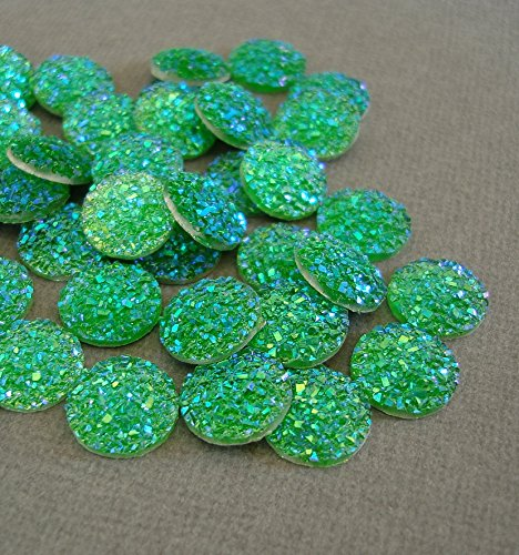 BeadsTreasure 20pcs- Druzy Resin Cabochons, Flat Round, Sparkly Glitter, AB Green