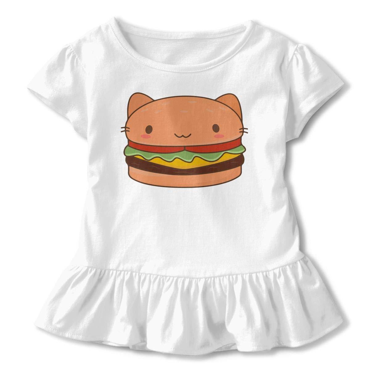Toddler Baby Girl Kawaii Cat Burger Funny Short Sleeve Cotton T Shirts Basic Tops Tee Clothes