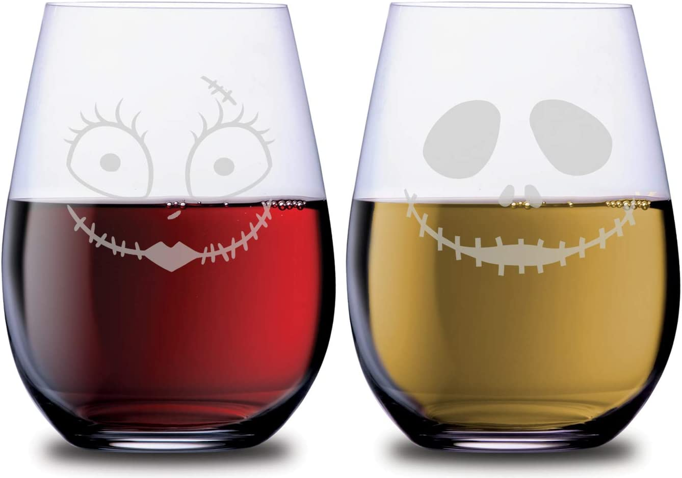 Jack /& Sally The Nightmare Before ChristmasWine Glasses Hand Etched