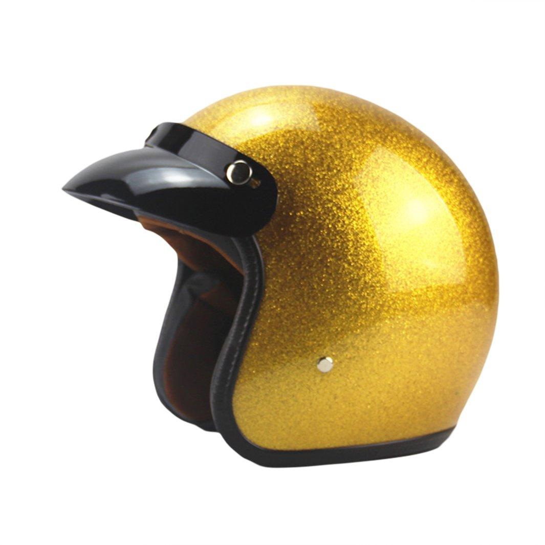 Lidauto Motorradhelme Vintage Open Face Halb Unisex Golden