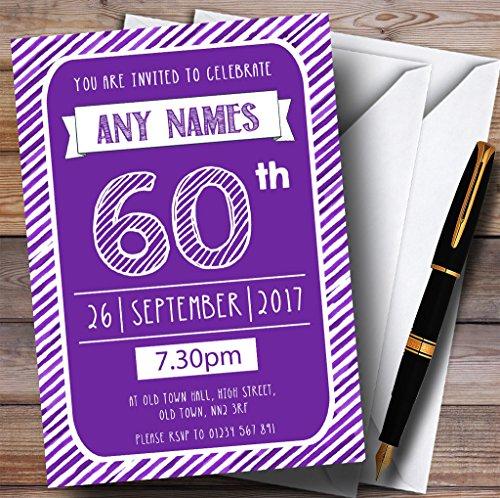 Purple & White Stripy Deco 60th Personalized Birthday Par...