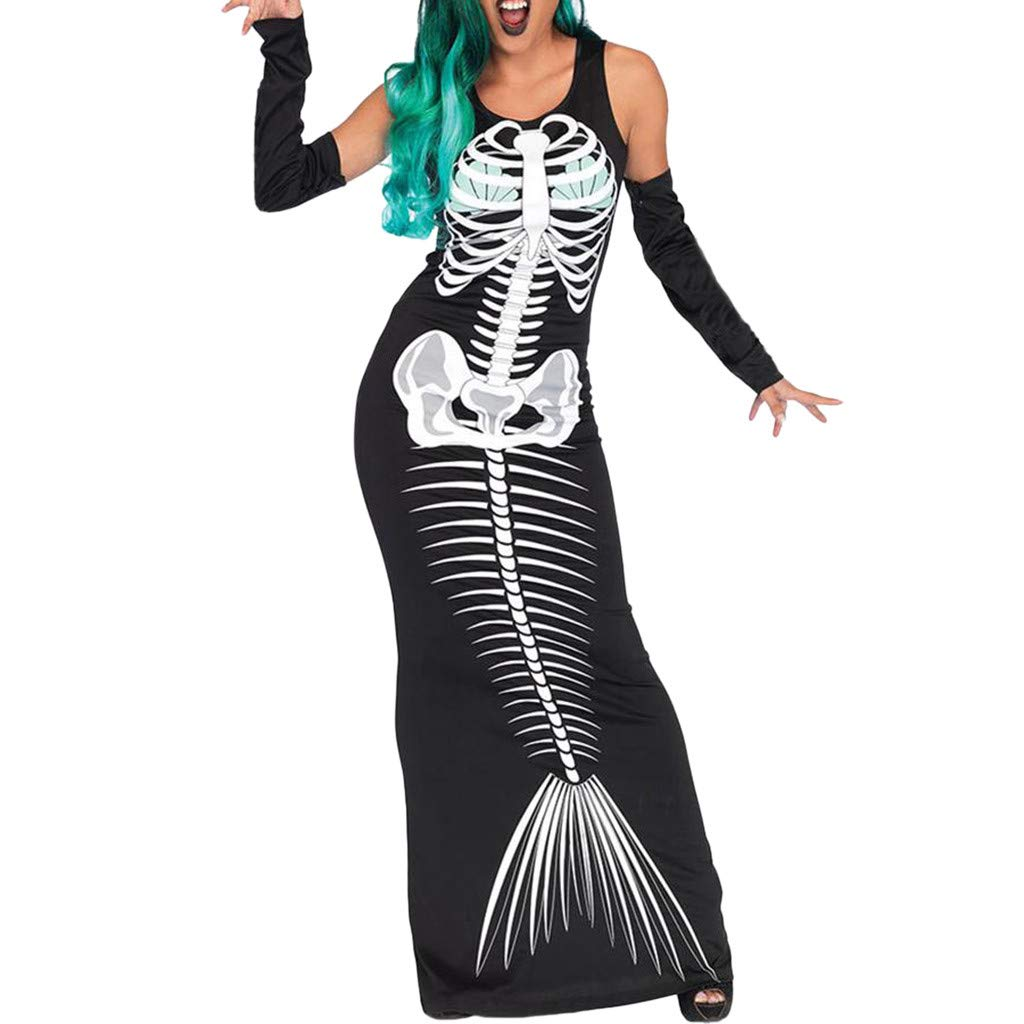 Dermanony Womens Long Sleeves Maxi Dress Off Shoulder Skeleton Print Halloween Cosplay Costume Bodycon Long Dress Black by Dermanony _Dresses