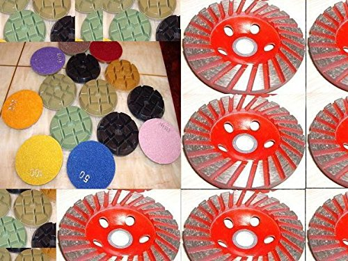 "4"" Inch 24 Pieces (super thick: 10mm Thick) Typhoon Diamond Floor Counter top renew polishing pad 6 Pieces Coarse Grit Grinding Cup Wheel travertine granite marble concrete cement"