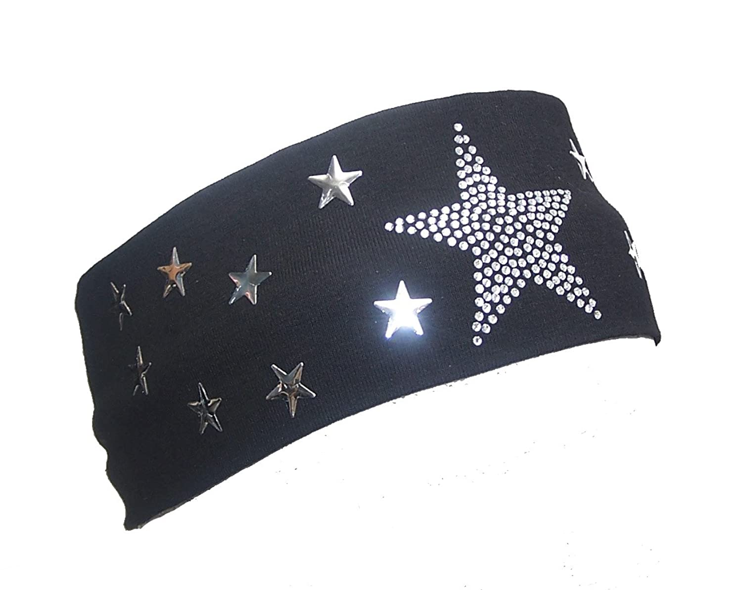 Stars Rhinestones Headband Hair Band Black and Pink