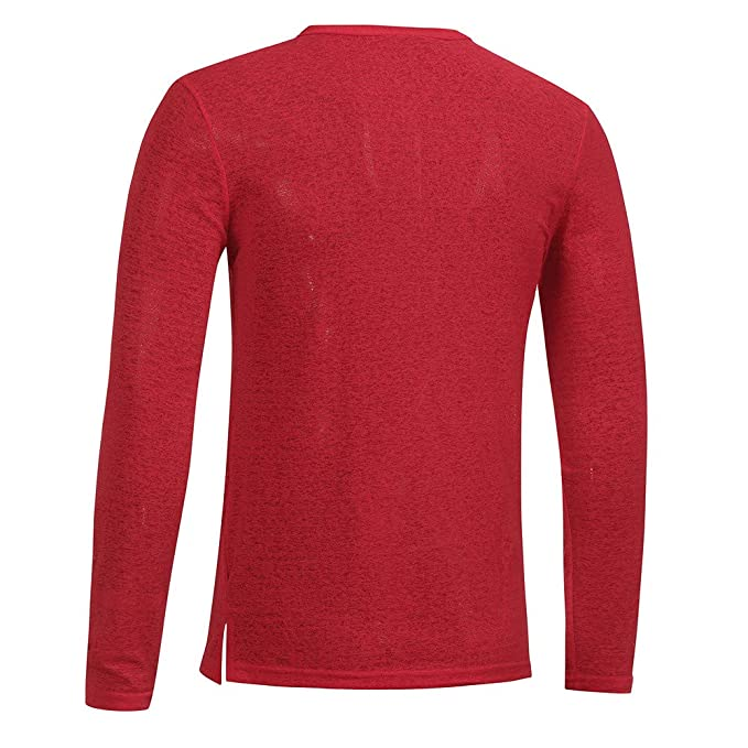 WM & MW Fashion Mens Shirt Slim Casual Long Sleeve Solid Color Button V-Neck T Shirt Basic Tops Blouse at Amazon Mens Clothing store: