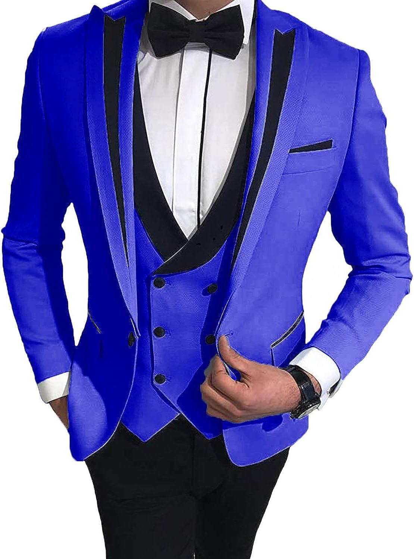 Everbeauty Fashion 3 Piece Tuxedo Wedding Suits for Men Slim Fit Blazers for Men Prom Party EXZ026 Royal Blue