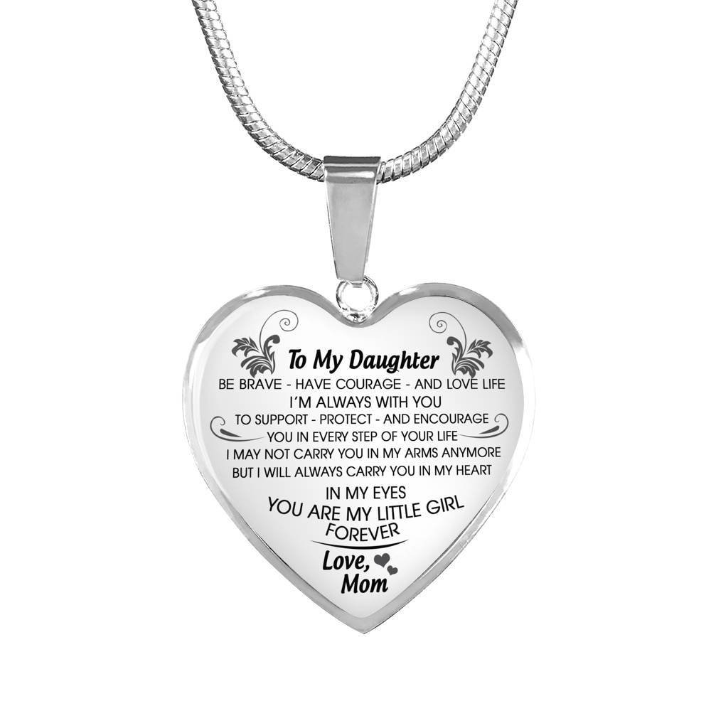 Best Teen Jewelry for Girls On Birthday Christmas. Inspirational Quote AZ Gift To Keep Mother Daughter Heart Pendant Necklace Silver Color I Will Always Carry You In My Heart DEEPEST LOVE