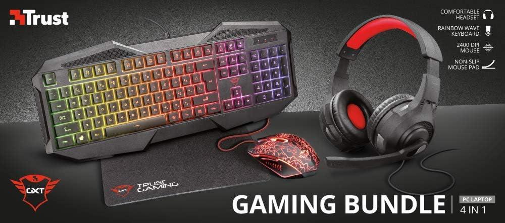 Trust Gaming GXT 1180RW - Paquete Gaming 4 en 1 (Auriculares, Alfombrilla, Teclado y ratón con iluminación) Color Negro: Amazon.es: Informática
