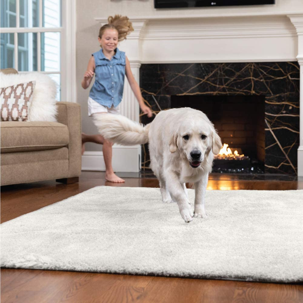 GORILLA GRIP Original Faux-Chinchilla Area Rug, 3x5 FT, Many Colors, Soft Cozy High Pile Washable Kids Carpet, Rugs for Floor, Luxury Shag Carpets for Home, Nursery, Bed and Living Room, Ivory