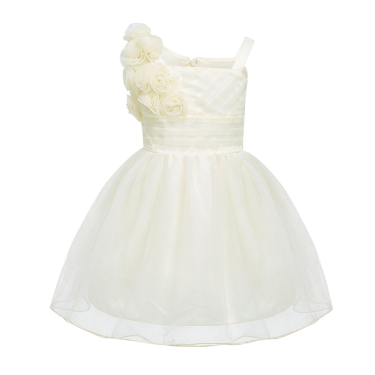 CHICTRY Baby Toddler Girls Glitter Tulle 3D Rose Princess Wedding Pageant Party Flower Dresses Champagne 9-12 Months