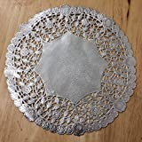 PEPPERLONELY 10 Inch Silver Round Lancaster Paper Doilies 50 Count