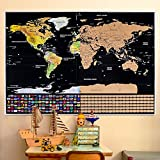 Office Products : Rabbitgoo Scratch Off World Map Poster with US States and Country Flags, World Travel Tracker Map Wall Map Decoration for Adventurers and Geography Enthusiasts(32.2in. By 23.2in.)