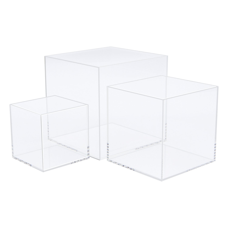 CRUODA Acrylic Display Case,3x3x3&4x4x4&5x5x5, 3pc, Display Box,5 Sided Acrylic Cube,Museum Box Case, Jewelry Book Showcase