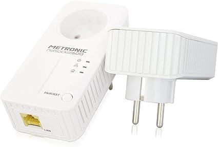 Metronic 495421 - Adaptadores PLC con enchufe extra, blanco: Amazon.es: Informática