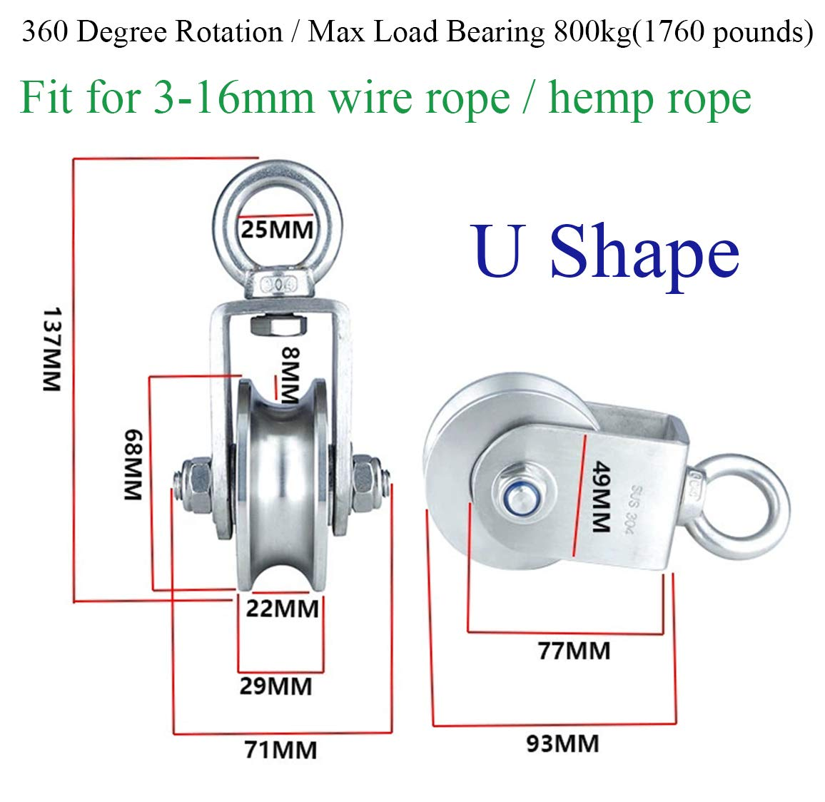 Penkwiio 1PCS Heavy Duty U Type Single Wheel Pulley Block Duplex Bearing 304 Stainless Steel 360 Degree Rotation Smooth Loading 1760lb/800 Kg for Material Handling and Moving: Industrial & Scientific