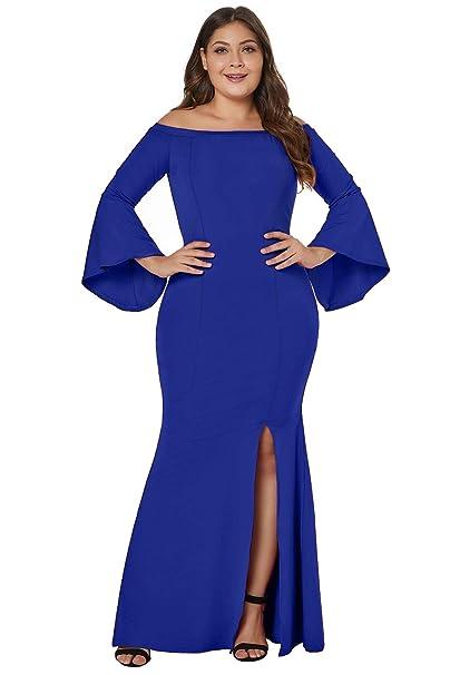FUSENFENG Womens Plus Size Off Shoulder Bodycon Slit Long Party Evening  Dress Gown