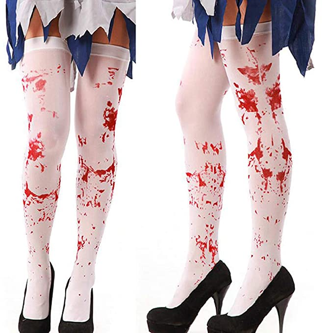 Ideapark 2 pares de sangre de Halloween Calcetines altos Medias de la rodilla sangrienta Calcetines de