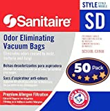 Electrolux Sanitaire SD Odor Eliminating Vacuum Bags 50 Pack. Genuine Professional Quality, Long-Life Allergen Filters with Arm & Hammer Baking Soda. Model 63262 Fits SC9100 S9120 SC9150 SC9180 C4900