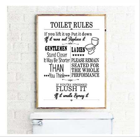 Dpfry Toile Imprimer Toilette Règle Mur Art Moderne Amusant