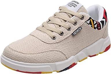 Mxjeeio 💖 2019 otoño e Invierno Zapatillas de Correr Hombre Malla Casual Cómodas Calzado Deportivo Zapatos Planos Informales Bambas de Running Parte Superior de Lino y Suela de Graffiti: Amazon.es: Ropa y
