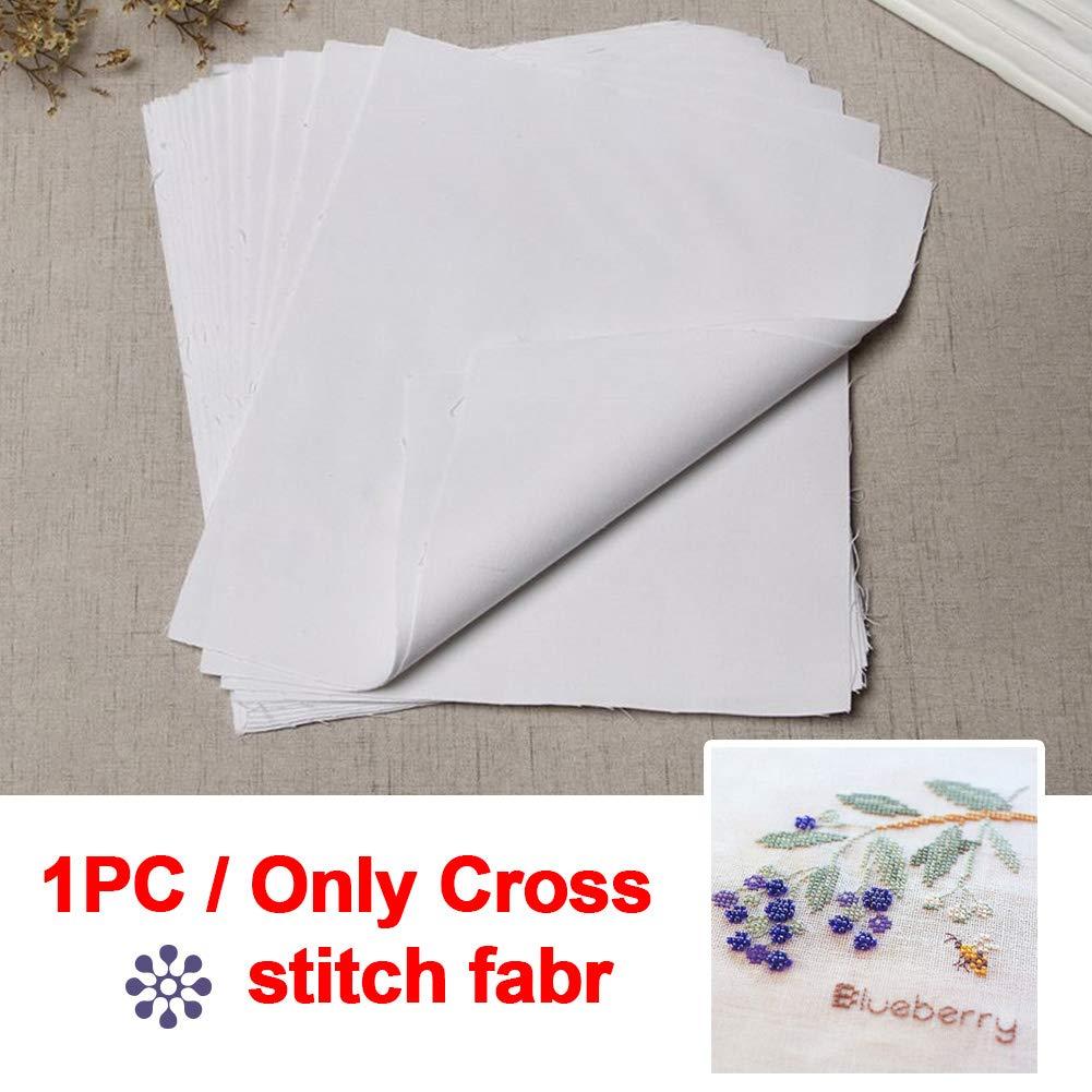 Tama/ño libre material para manualidades Tela de punto de cruz para bordar para uso dom/éstico costura de tela de algod/ón y lino color blanco As Picture Show