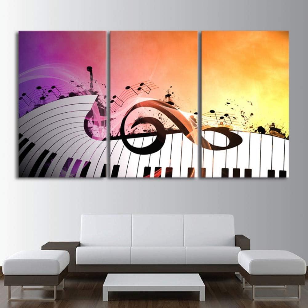 MMLFY 3 Cuadros consecutivos Pintura sobre Lienzo Arte de la Pared Decoración para el hogar Trabajo 3 Piezas Teclas de Piano Música Instrumento Musical Abstracto Moderno Imágenes Impresas en HD