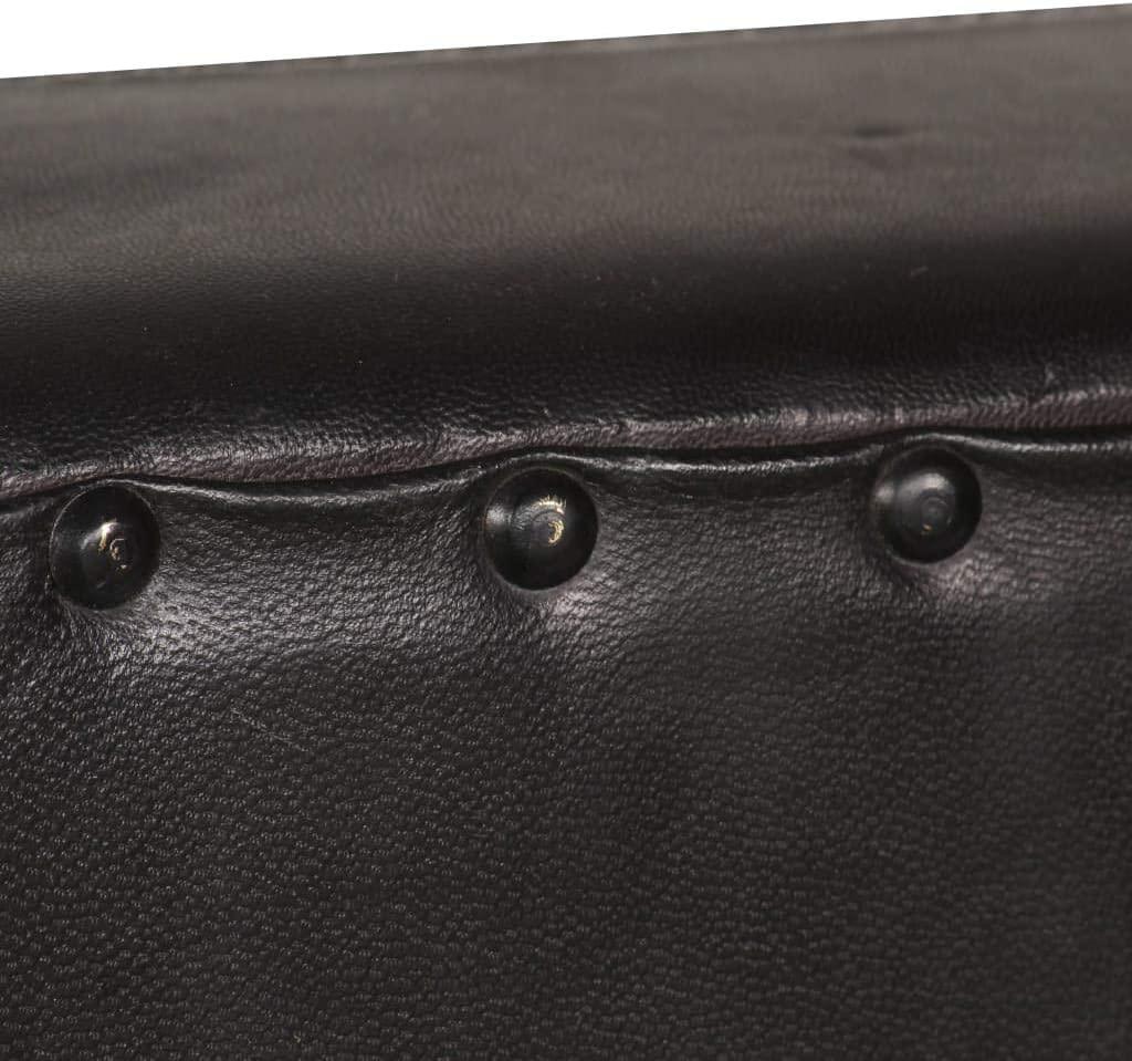 Retro Cocktailsessel Festnight Sofastuhl Sessel Vintage Loungesessel Wohnzimmersessel Schwarz Echtleder und Pulverbeschichteter Stahl 52 x 69 x 76 cm