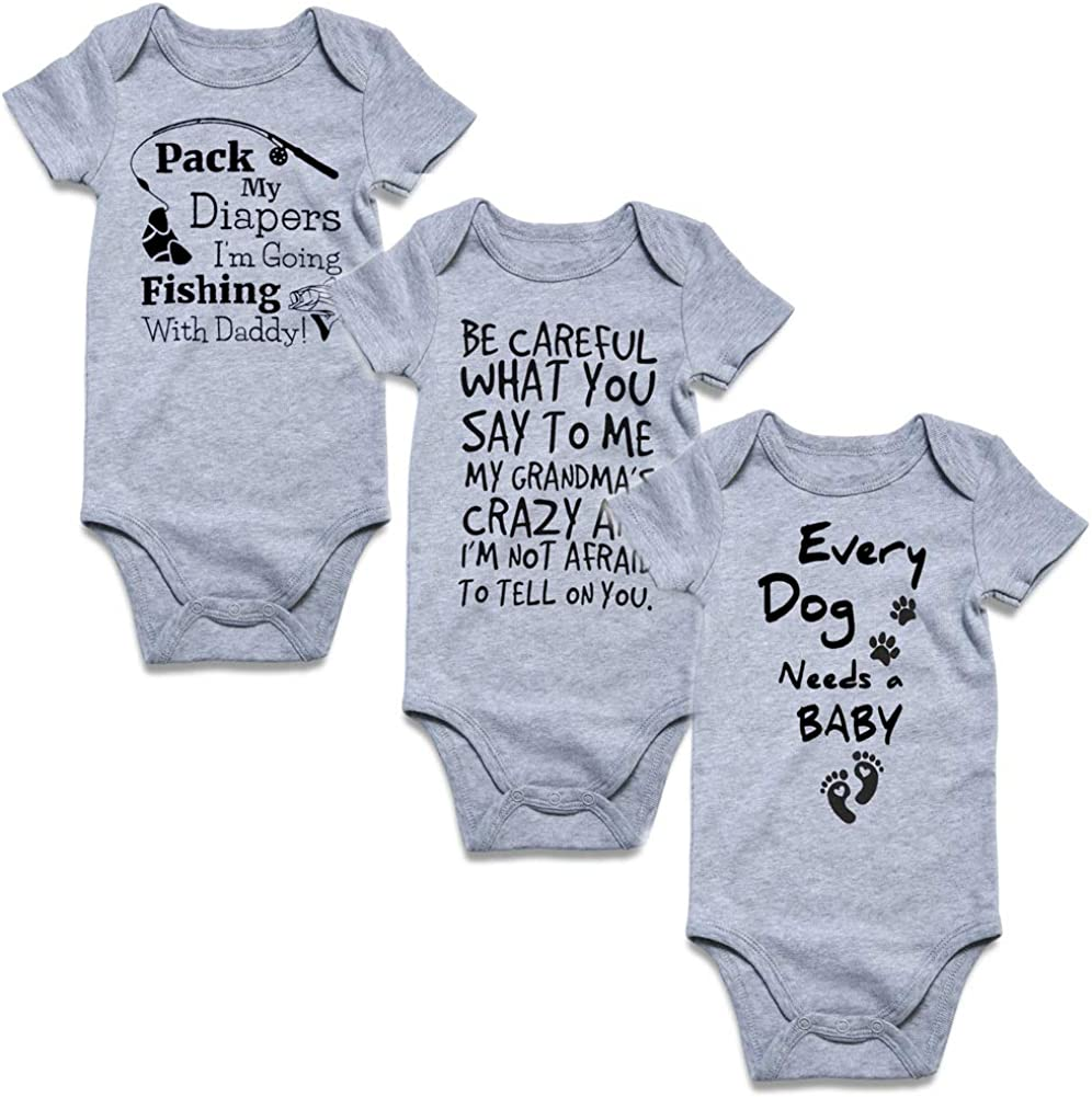 UNIFACO Unisex Baby Funny Onesie Short and Long Sleeve Bodysuits Outfits 0-12M