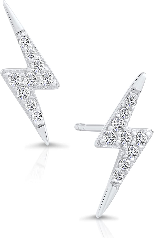 Amazon Com Sterling Silver Cubic Zirconia Tiny Lightning Bolt Stud Earrings Jewelry