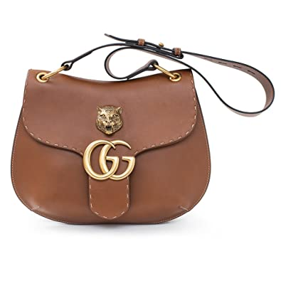 786074f911b Amazon.com  GUCCI GG MARMONT LEATHER SHOULDER BAG Brown Tiger ...