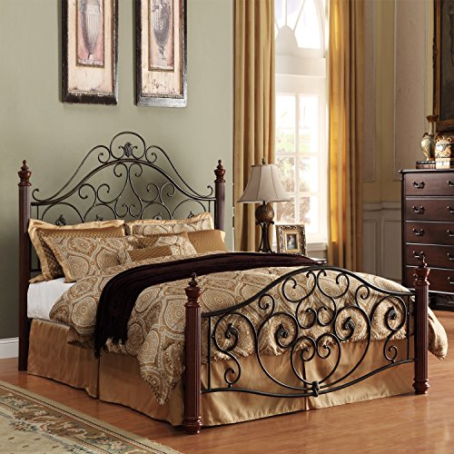 Metro Shop TRIBECCA HOME Madera Graceful Scroll Bronze Iron Metal Queen-sized Bed-Madera Deco Queen Metal Bed ()