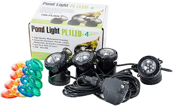 Amazon Com Jebao Pl1led 4 Submersible Pond Led Light With Colored Lenses Fountain Lights Garden Outdoor