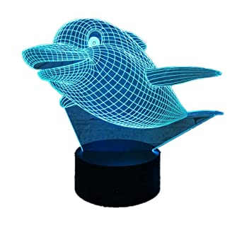 KangYD Cute 3D Dolphin LED Night Light ilusion/Dormitorio ...